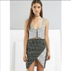 NEW NWT two piece skirt and crop top grid set